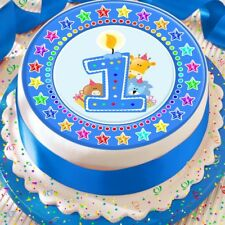 CANDLE AGE 1 1ST BIRTHDAY BLUE STAR BORDER 7.5 INCH PRECUT EDIBLE CAKE TOPPER