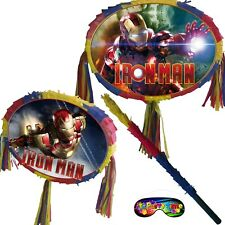 Iron Man Pinata set Kids Smash Party Fun Stick Red super hero Avengers Comics UK