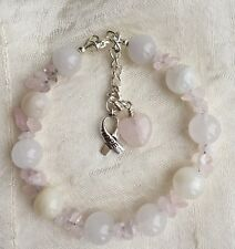 Fertility Love Healing Rose Quartz Moonstone bracelets with free charms