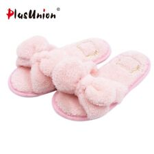 Cute Butterfly Knot Indoor Winter Solid Furry Soft Slippers Women Red Blue Shoes