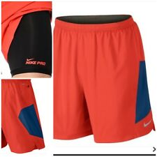 """NIKE 7"""" 2 IN 1 PURSUIT MENS SHORTS, RED/BLUE, Nike Pro Running"""