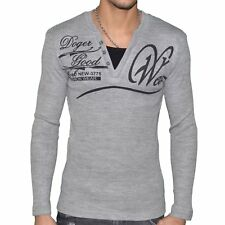 DOGER WEAR - PULL COL V DOUBLE - HOMME - SD 115 - GRIS CLAIR NEUF