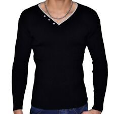 STEF WEAR - PULL COL V DOUBLE - HOMME - STEF 701 - NOIR GRIS NEUF