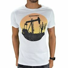 DSQUARED2  TSHIRT MANCHES COURTES  HOMME  TDS01 SUNSET  BLANC NEUF GRADE A