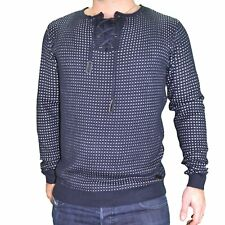 RIVALDI  PULL  HOMME  COL LACETS  GAIL  NAVY NEUF GRADE A