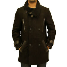 Mens New Black Shearling Sheepskin Double Breasted Large Collar Warm Trench Coat