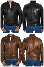 Mens Vintage Safari Fitted Waxed Leather Mandarin Collar Jacket in Black & Brown