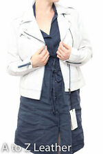 Ladies White Leather With Blue Detail Zipped Short Biker Style SideZip Jacket