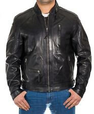 Mens Vintage Black Soft Waxed Leather Biker Jacket with Collar Zipper