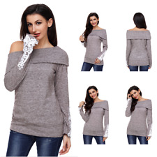 Women Long Sleeve Lace Up Sweater Off Shoulder Oversized Baggy Jumper Loose Tops