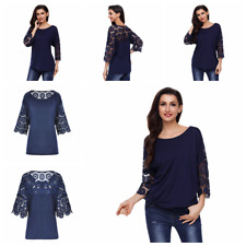 Women Long Sleeve See-Through Lace Blouse T-Shirt Oversized Tops Shirts Pullover