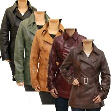 Ladies Brown Tan Classic Hip Length Double Breasted Belted Trench Coat