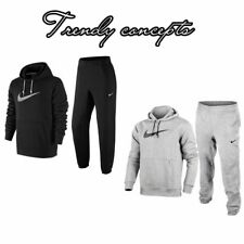 Nike Mens Big Swoosh Full Tracksuit Fleece Hooded Jogging Bottoms White Black