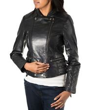 Womens Black Real Leather Diamond Quilted Double Zip Fastening Biker Jacket
