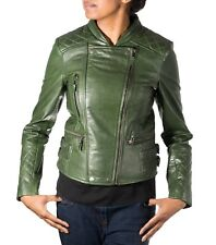 Womens Green Real Leather Diamond Quilted Double Zip Fastening Biker Jacket