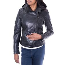 Womens Black Hooded New Biker Designer Style Quilted Real Soft Leather Jacket