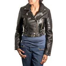 Womens Black Real Soft Leather Brando Rock Chick Classic Biker Fitted Jacket