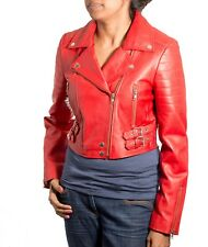 Womens Red Real Soft Leather Brando Rock Chick Classic Biker Fitted Jacket