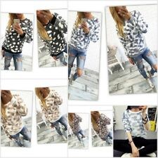 Women Long Sleeve Jumper Stone Print T-Shirts Winter Sweater Tee Warm Blouse Top
