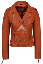 aCLASSIC BRANDO Ladies Orange Biker Style Motorcycle Cruiser Napa Leather Jacket