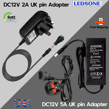 24/60W AC/DC12V 2/5A Power Supply Adaptor 3PIN UK Plug For 5050 LED Lights Strip