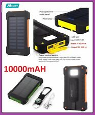 Melery Waterproof 10000Mah Solar Power Bank Dual USB Charger Battery Portable