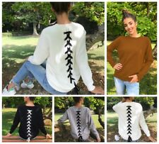Womens Autumn Sweater Long Sleeve Pullover Crew Neck Back Lace Up Tops Outwear