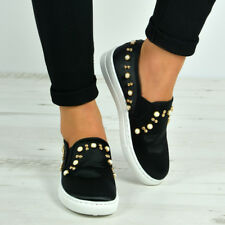 New Womens Casual Sneakers Flat Slip On Pearl Trainers Pumps Shoes Sizes Uk 3-8