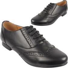 cd01ea2e808d New Kids Ladies Smart Office Formal School Girls Lace Up Black Brogue Shoes  Size
