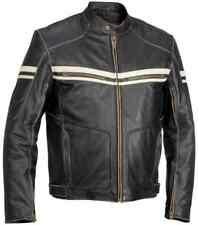 Mens Black Motorcycle Genuine Cow Hide Vintage Leather Jacket With White Stripes