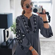 ZARA Woman BNWT Grey Embroidered Maxi Dress With Long Sleeves Ref. 6895/044