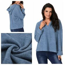 Ladies Winter Sweatshirt Loose Pullover V-Neck Hooded Jumper Casual Tops Outwear