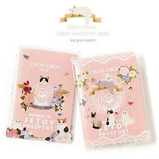 Pink Kitten Cats Flowers Cute Passport Cover Travel ID Holder Wallet Protector