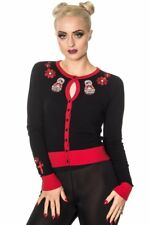 Banned - RUSSIAN PIRATE DOLL - Womens Long Sleeve Fine Knit Embroidered Cardigan