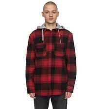 DC RUNNEL Flannel - Long Sleeve Shirt Black/Red Men's Skateboard Size S-XXL
