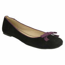 LADIES F8R764 SPOT ON FLAT CASUAL BOW DETAIL BALLERINA DOLLY SLIP ON PUMPS SHOES