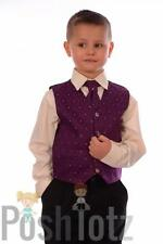 Boys Suits, Formal, Wedding, Pageboy. 4 Piece Purple & Black Suit 0-3mths-15yrs