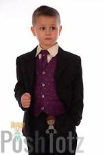 Boys Suits. Formal ,Wedding ,Pageboy.5 Piece Purple & Black Suit (0-3mths-15yrs)