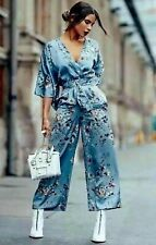 a23e234cc5f ZARA BLUE FLORAL ORIENTAL PRINT WIDE LEG PALAZZO JUMPSUIT NEW DRESS