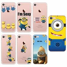 Funny Minions Despicable Me Design TPU Gel Back Clear Case For iPhone 8 7 6s 6