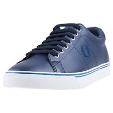 Fred Perry Underspin Mens Navy Leather Casual Trainers Lace-up Genuine Shoes