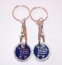 2 PACK FUNKY TROLLEY ONE POUND COIN TOKEN KEYRING SHOPPING TROLLEY KEYRING NEW