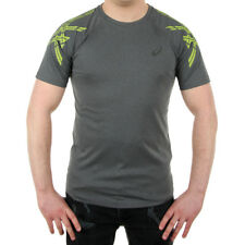 Men's Asics Stripe Short Sleeve Top Training Wicking Tee Sports T-Shirt Reflect