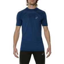 Men's Asics Short Sleeve Seamless Top Training T-Shirt Blue Sports Tee Wicking