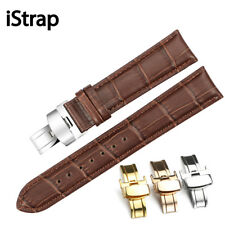 iStrap Pulseira Genuine Calf Leather Bracelet Black Brown Watch Band Padded S...