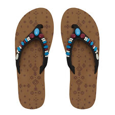 Animal branded Sista NEW Toffee Apple Brown beaded fashion flip flops sizes 3-8