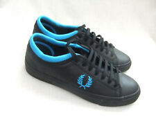 NEW FRED PERRY B5279 SOHO KENDRICK MENS TIPPED CUFF BLACK LEATHER TRAINERS