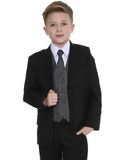 Boys Suits Boys Check Suits, Page Boy Wedding Prom Formal Suit, Boys Grey Suit A