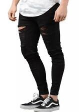 Sik Silk Jeans - Mens 12462 Distressed Skinny Denim Jeans in Jet Black