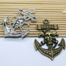 3/15pcs Antique silver lovely delicate pirate ships anchor charm pendant